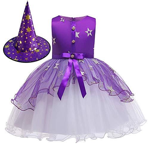 OBEEII Halloween Costume Disfraz de Bruja para Bebé Niñas Estrelle Princesa Vestido con Sombrero Bruja 2Piezas Outfit 5-6 Años