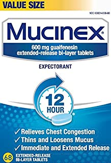 Chest Congestion, Mucinex 12 Hour Extended Release Tablets, 816ct (12X68ct), 600 mg Guaifenesin with extended relief of ch...