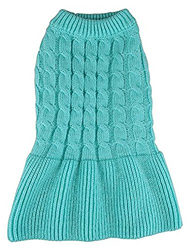 MaruPet Fashion Sweety Puppy Dog Ribbed Knit Sweater Knitwear Turtleneck Classical Twist Doggie Tutu Dress One-Piece for Small to Medium Dog and Cat Blue XXS
