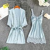 IAMZHL Summer New 2 PCS Sleep Set Satin Kimono Gown Mujeres AlbornozSexy Camisón Encaje Ropa de Dormir Ropa de Dormir-2PCS Blue-2-L