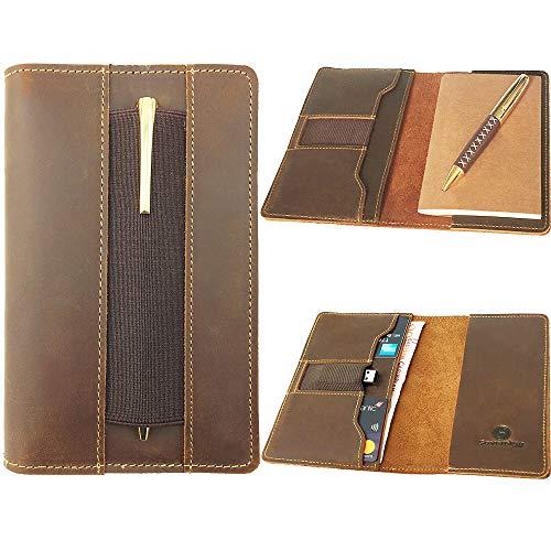 Funda de cuero para cuadernos de campo Moleskine Cahier de 10,7x6,3 cm - Cuero vintage hecho a mano. Funda de cuero + cuaderno de papel + bolígrafo