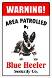 StickerPirate Warning Area Patrolled by Blue Heeler 8'X12' Novelty Dog Sign