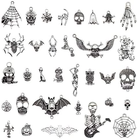 100pcs Antiqued Silver Halloween Charms Pendants for Jewelry Making Craft Finding Necklace Bracelet product image