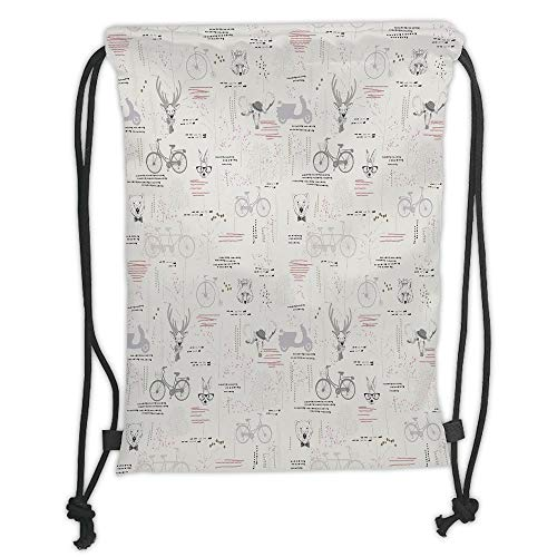 Drawstring Backpack Watercolor Fox And Baby Fox Bags Knapsack For Hiking