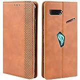 HualuBro Handyhülle für Asus ROG Phone 2 ZS660KL Hülle, Retro Leder Stoßfest Klapphülle Schutzhülle Handytasche LederHülle Flip Hülle Cover für Asus ROG Phone 2 II ZS660KL Tasche, Braun