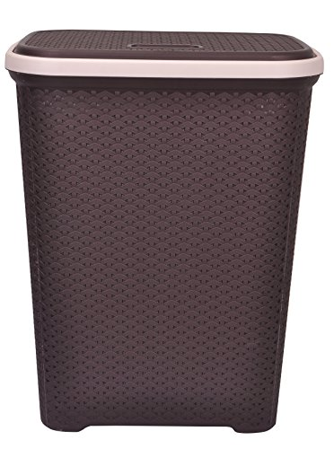 Polyset Elegance Laundry Basket With Lid-Brown-55L