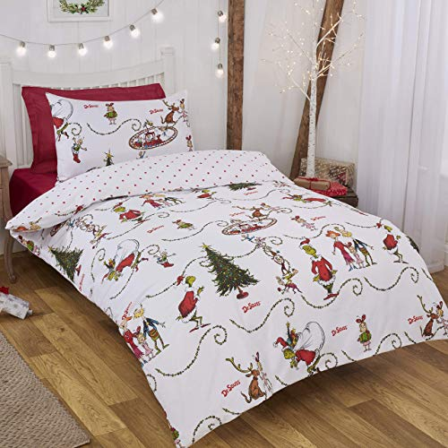 Coco Moon The Grinch Hugs Classic Rotary Reversible Single or Double Bed Size Duvet Cover and Pillow Set for Kids Ideal Prime Gift