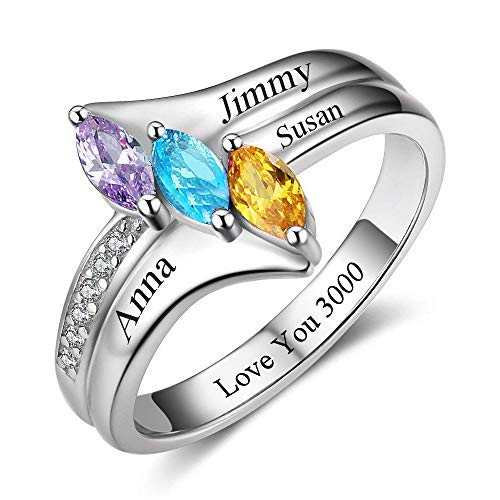 Fortheday Personalized Mothers Rings with 4 Simulated Birthstones Family Rings for Women Promise Rings for Her Heart Custom Name Rings (Silver, 8)