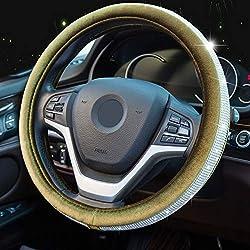 Crystal Diamond Army Green Steering Wheel Cover Universal 15 inch