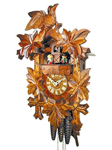Reloj de cuco de la Selva Negra, reloj de cuco, mecánico, 1 día de trabajo, 1 pájaro y 5 hojas de arce, figuras de baile, reloj de cuco, reloj de cuco