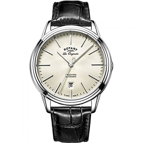 Rotary GS90161-32 Mens Les Originales Tradition Automatic Steel Black Leather Strap Watch