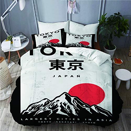 PANILUR Mikrofaser Bettwäsche 135x200cm,das Thema Japan Tokio,mit Reißverschluss Bettbezug 2 Kissenbezug 50x80cm