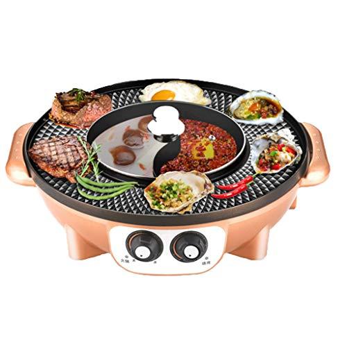 RHSMP Elektrische Haushaltsbackform Elektrischer koreanischer Grill Hot Pot Maifan Stone Multifunktionaler und heißer Topf Tischgrill 2 in 1,Gold,BBQ+Wok