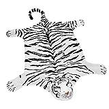 BRUBAKER ALlfombra de Peluche Tigre Color Blanco 200 x 120 cms. Alfombra de Cama o de Estufa/Chimenea