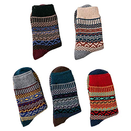 ABOOFAN 5 Pares Otoño Invierno Mujer Medio-tubo Calcetines Estilo Étnico Grueso Caliente Medias