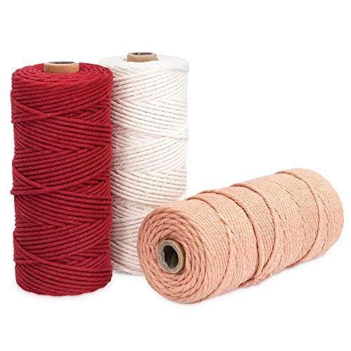 Navaris 3X Hilo de algodón para macramé - Rollos de Cuerda de 3 MM para Tejer Adornos Ganchillo Crochet Manualidades - Hilos en Blanco Rojo marrón