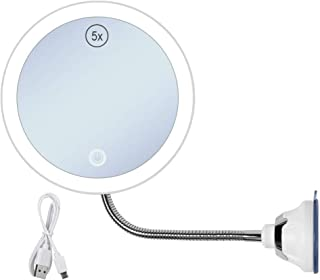 Magnifying Makeup Mirror With LED Lighted 360 Degree Flexible Gooseneck 5X Bathroom Vanity Mirrors With Touch Screen Control Strong Suction Cup for Travel and Home