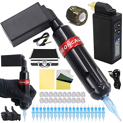 Complete Tattoo Pen Kit, Beoncall Rotary Tattoo Pen Machine with Wireless Tattoo Power Supply 20pcs Cartridge Needles Tattoo Grip Tape Tattoo Ink Caps Tattoo Kit Box