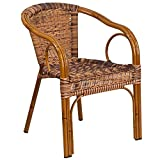 Flash Furniture Cadiz Series Dark Red Bamboo-Aluminum Indoor-Outdoor Restaurant-Patio Chair with Burning Brown Rattan