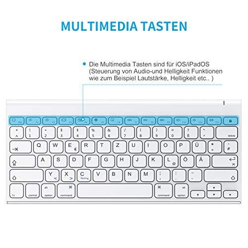 OMOTON aufladbare Bluetooth Tastatur für iPad, Tastatur Kabellos für iPad 10.2 (8. Generation) 2020/iPad 10.2 2019, iPad Air 4/3/2/1, iPad Pro 11/12.9 (2018/2020), iPad Mini, Weiß