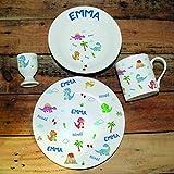 Juego de desayuno/comida totalmente personalizado - Decoración personalizada de porcelana fina (dinosaurio)