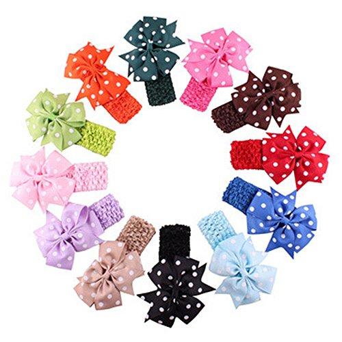 Butterme Lot de 12 Mignon Fille Bébé Polka Dots bandeaux Accessoires élastique Fleur Bandeaux Cheveux Photographie Accessoires