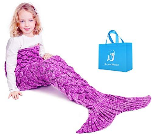 Mermaid Schwanz Strickdecke für Kinder, Häkeln Meerjungfrau Schwanz Decke Gestrickte Schlafsack, All Seasons Fischschwanz Decken Sofa Quilt Perfekt Geschenk (Helles Pulver)