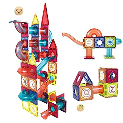 Amazon - 50% Off on  Magnetic Tiles 101Pcs Pipe 3D Magnetic Building Blocks Marble Run Track