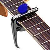ABMBERTK Cejilla de Guitarra Multifuncional de aleación de Zinc, con 3 púas de Guitarra para Guitarras eléctricas acústicas, Accesorios para Bajos,Negro