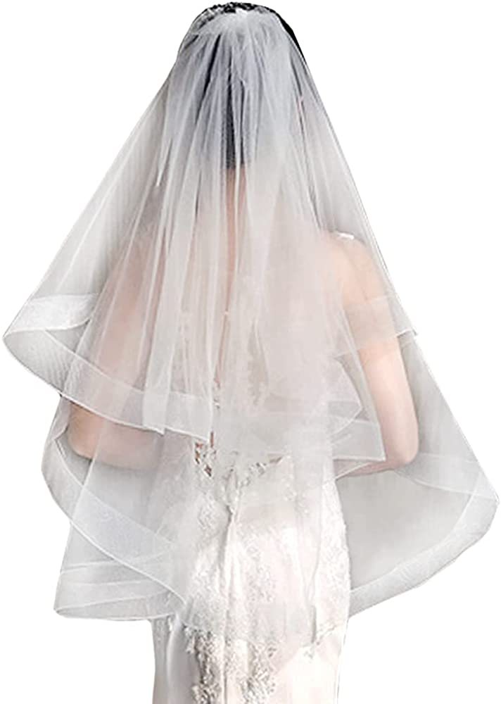 Ivory 2-Tier Women's Bridal Wedding Veil With Comb,Simple Tulle Fingertip Elbow Veil Bachelorette Party Wedding Vei