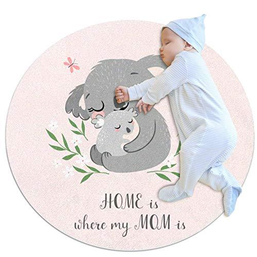 dessin animé mignon koala Tapis rond Tapis moelleux pour le salon de la chambre à coucher salle de jeux pour enfants de super doux 100x100cm