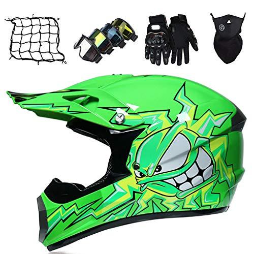 Cascos de Moto Monstruo Verde Cascos de Motocross para Niños Sets (5 piezas) Casco de Protección Todoterreno Adultos y Jóvenes Casco de Bicicleta de Montaña de Integral Unisex, con Diseño FOX