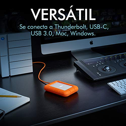 LaCie STFS5000800 - Disco Duro Externo (5 TB, USB Tipo C, Interfaz Thunderbolt) Color Naranja y Plata miniatura