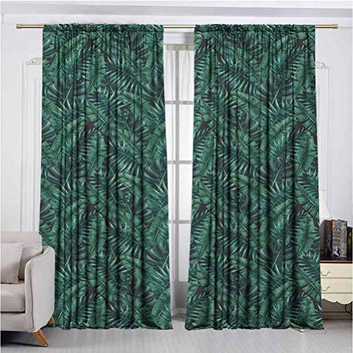 Palm Leaf Super Soft Luxury Curtains for Insulated Windows Watercolor Tropical Jungle Leaves Pattern Fresh Rainforest Hawaii Summer Protect Furniture and Floors in The Sun W72 x L84 Inch