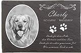 Pokal Center Westerheider Hundegrabstein mit Foto und Pfoten, Gedenksteine für Hunde mit personalisierter Gravur, Gedenksteine aus Naturschiefer 20x30 cm