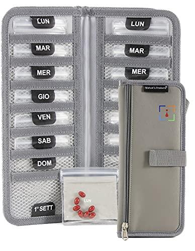 Manuel's Products Pastillero Semanal De Viaje - Organizador Tomas Medicamentos 14 Días - Dispensador Diario Recordatorio De Pastillas - 14 Compartimentos Grandes - Tela Lavable - Pill Box Organizer