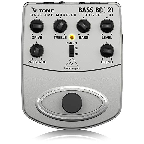 Behringer V-Tone Bass Driver DI BDI21 Bass Amp Modeler/Direct Recording Preamp/DI Box,Silver