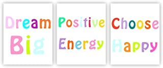 Barri Design Positive Energy Motivational Quotes Prints Choose Happy Prints Inspirational Wall Art Classroom Motivation Poster Dream Big Dorm Wall Decor Canvas Picture (Unframed)