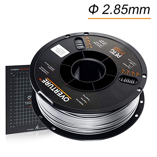 OVERTURE 2.85mm PETG Filament with 3D Build Surface 200mm × 200mm, 1kg Spool (2.2lbs), Dimensional Accuracy +/- 0.05 mm, 3D Printer Consumables Fit Most FDM Printer (Space Grey)