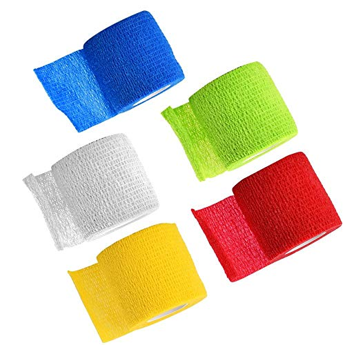 ATOMUS 5Roll Self Adherent Elastic Bandage Self Grip Bandage for Tattoo Grip Tape Handle Tube Tattoo Accessories Mix Color