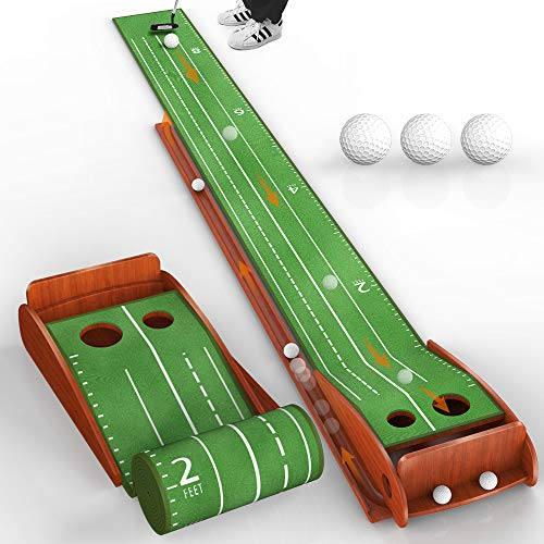 Kuwork Wood Golf Putting Mat with Auto Ball Return System, Indoor Golf Putting Green Mats Practice...