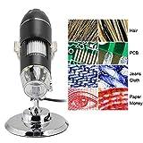 Tosuny Microscopio Digital USB 500X, cámara de Aumento de 8 LED, microscopio USB 2MP 1600x1200 Cámara de Video 3-40mm Enfoque Manual Compatible para Windows 2000/XP, Vista, 7/8/10