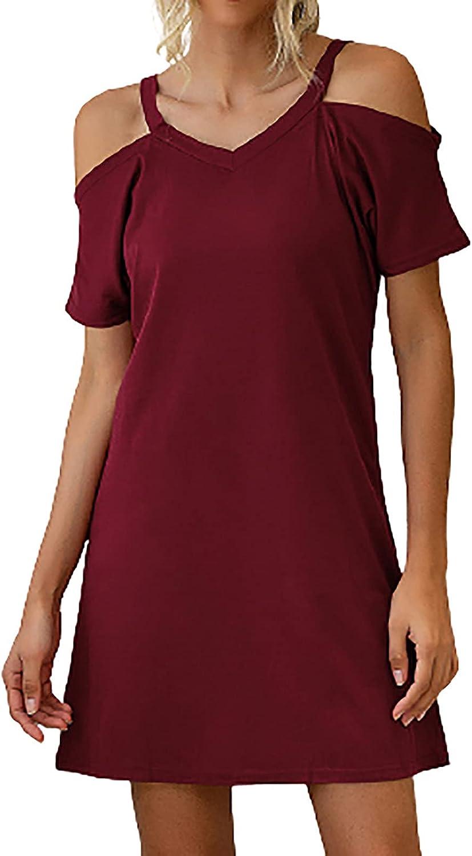 ESULOMP Summer Women Short Sleeve Soild Color Dress O Neck Off Shoulder Casual Short Tunic Dresses