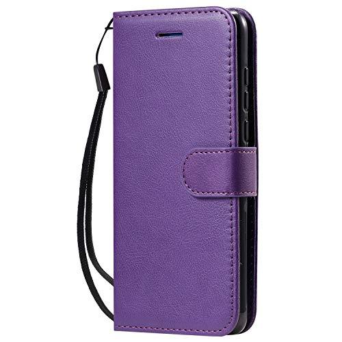Lomogo Huawei P40 Hülle Leder, Schutzhülle Brieftasche mit Kartenfach Klappbar Magnetisch Stoßfest Handyhülle Case für Huawei P40 - LOKTU100735 Violett