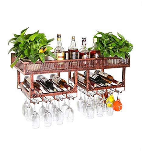 Daily Equipment Wine Racks Vintage Wall Holder Metal Doble Capa Gratis |Soporte para botella de vino | Soporte para copa de vino colgante |Soporte de vino rústico Enfriador de vino montado en la