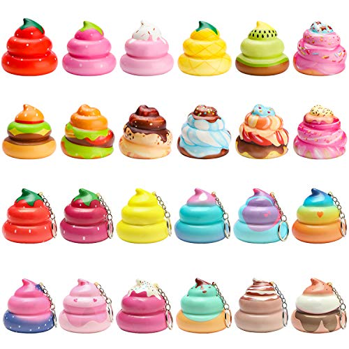 WATINC Random 12 Pcs Kawaii Soft Poo Squeeze Cream Scented Stress Relif Toy, Decorative Props Gift Hand Toy for Kids