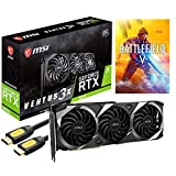 MSI GeForce RTX 3070 Ventus 3X OC Gaming Video Card, 8GB GDDR6, PCIe 4.0, 8K, VR Ready, Ray Tracing, 1x HDMI 2.1, 3X DisplayPort 1.4, Triple Fans, HDCP, Mytrix HDMI 2.1 8K Cable, Battlefield V