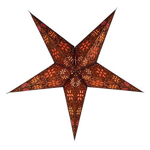 Faltbarer Advents Leucht Stern aus Papier, Weihnachtsstern Anubis braun / Papierstern 5 Zacken