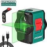 Niveau Laser, Double Modules HYCHIKA Niveau Laser Vert pour L'extérieur, Niveau Laser Autonivelant Rechargeable avec Support Magnétique, Ligne Transversale Commutable, Ligne Horizontale et Verticale