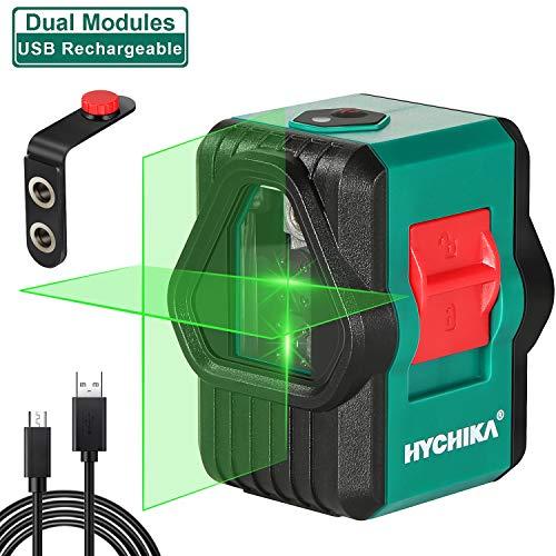 Kreuzlinienlaser grün 30M, HYCHIKA grüner Linienlaser mit Dualem Lasermodul, 520nm 360°Umschaltbar Selbstnivellierend Querlinie/Horizontal/Vertikal mit Halterung, 1200mAh Li-ion Batterie